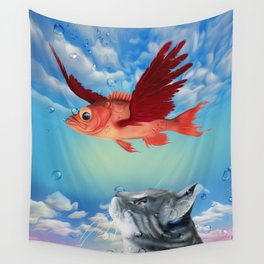 The flying fish and the amazed cat - Fantsy Wall Tapestry