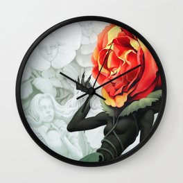 Alice in Wonderland Rose Wall Clock