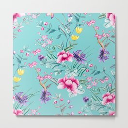 Chinoiserie Decorative Floral Motif Pale Turquoise Metal Print
