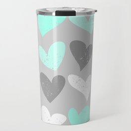 Mint white grey grunge hearts Travel Mug