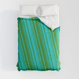 Forest Green & Dark Turquoise Colored Striped Pattern Comforters