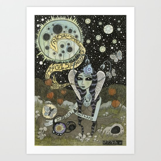 Moth Girl Singing to the Moon Art Print
