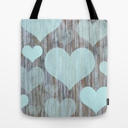 Wooden Teal Hearts Tote Bag