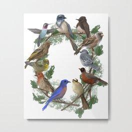 California Bird Wreath Metal Print