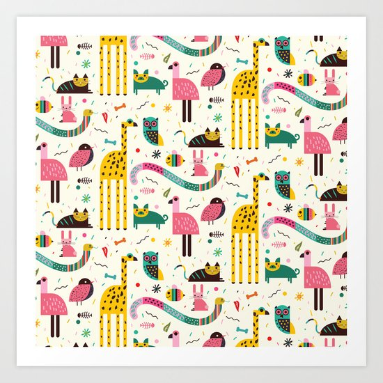 Animals Can Party Too! Art Print