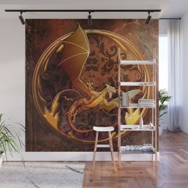 Gold Dragon Emblem on Faux Leather Wall Mural