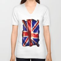 england V-neck T-shirts featuring England Flag by Fine2art
