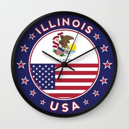 Illinois, Illinois t-shirt, Illinois sticker, circle, Illinois flag, white bg Wall Clock
