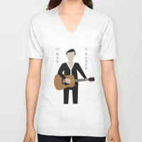 johnny cash V-neck T-shirts featuring Johnny Cash by Sarah Duet
