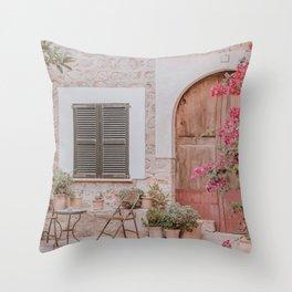 Mediterranean Spain Village Street View Summer Throw Pillow