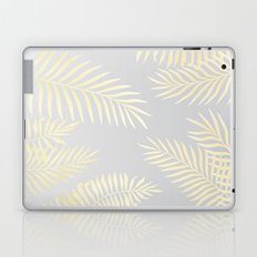 Gold palm leaves on grey Laptop & iPad Skin