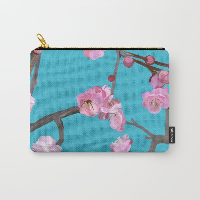 Plum blossom pattern turqouise Carry-All Pouch