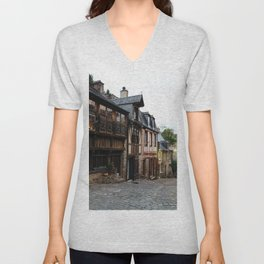 Old street in the town of Dinan at dusk Unisex V-Neck