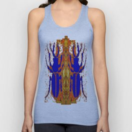 Lapis Blue Beetle on Gold Unisex Tank Top