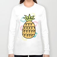 pineapples Long Sleeve T-shirts featuring Playful Pineapples by Studio Longoria