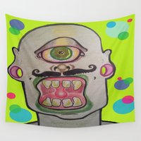 cyclops Wall Tapestries featuring CYCLOPS NEON  by Punkboy Marti