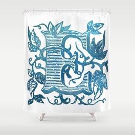 Letter E Antique Floral Letterpress Monogram Shower Curtain
