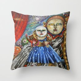Luna-Mistica - Mystical Moon and Constellations Surrealist portrait by Alejandro Colunga Throw Pillow