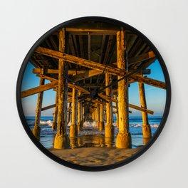 Morning Under Newport Pier Wall Clock