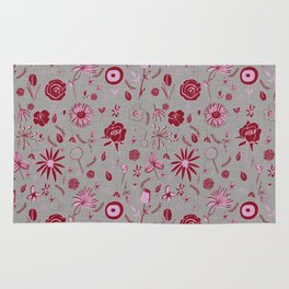 Pink and grey floral with wild roses Rug