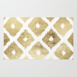 Modern chic faux gold leaf ikat pattern Rug