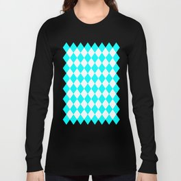 Diamonds (Aqua Cyan/White) Long Sleeve T-shirt