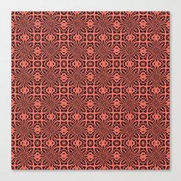 Peach Echo Geometric Floral Abstract Canvas Print