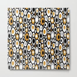 Mid Century Modern Ovals - Small Print in Black, White, Gold, Silver Metal Print