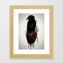 Raven and Heart Grenade Framed Art Print