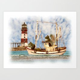 Squirrels Boat Lighthouse Child's Room Animal Art A347 Art Print