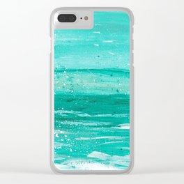Bleu Wave Rising Clear iPhone Case
