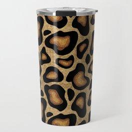 Leopard Pattern Gold Sparkle Travel Mug