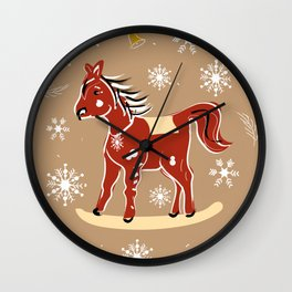 christmas litle red horse Wall Clock