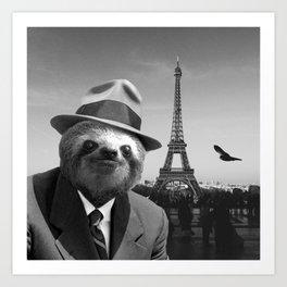 Gentleman Sloth in Paris Art Print