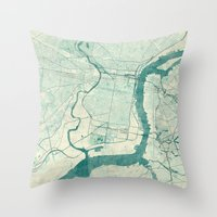 philadelphia Throw Pillows featuring Philadelphia Map Blue Vintage by City Art Posters