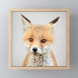 Baby Fox - Colorful Framed Mini Art Print