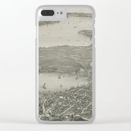 Vintage Pictorial Map of Lake Geneva WI (1882) Clear iPhone Case
