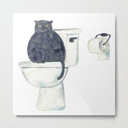 Black Cat toilet Painting Wall Poster Watercolor Metal Print
