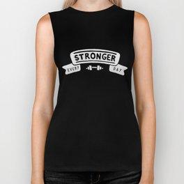 Stronger Every Day (dumbbell, black & white) Biker Tank