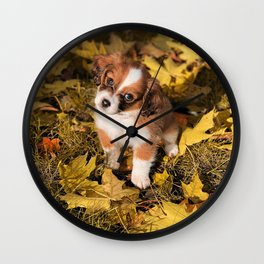 Cute puppy in autumn leaves Wall Clock