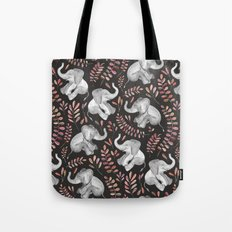 Laughing Baby Elephants - Coral Tote Bag