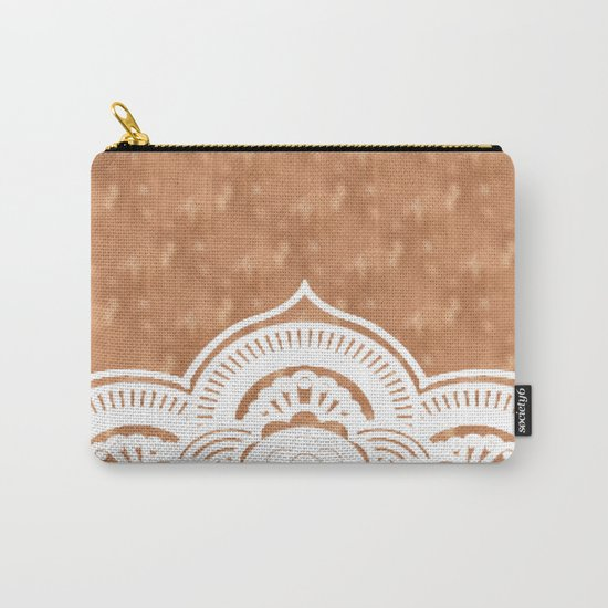 White mandala on copper Carry-All Pouch