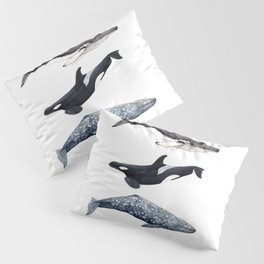 Orca, humpback and grey whales Pillow Sham