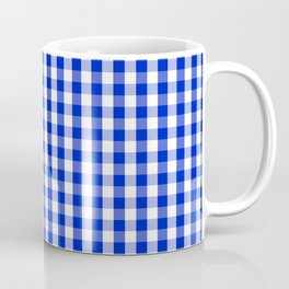 Cobalt Blue and White Gingham Check Plaid Squared Pattern Coffee Mug