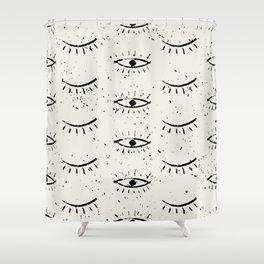Hand drawn ethnic eyes pattern with grunge background Shower Curtain