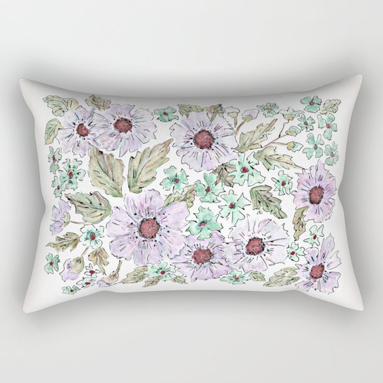 Colorful floral pattern . Beige background . Rectangular Pillow