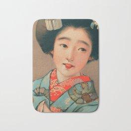 Lady in Blue Kimono Bath Mat