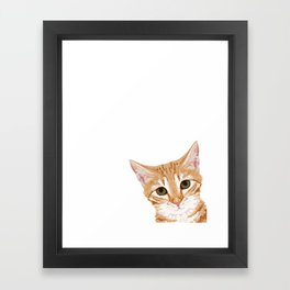 Peeking Orange Tabby Cat - cute funny cat meme for cat ladies cat people Framed Art Print