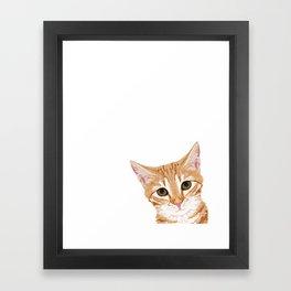 Peeking Orange Tabby Cat - cute funny cat meme for cat ladies cat people Framed Art Print