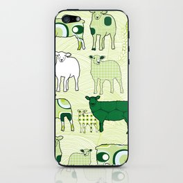 1960's patterns with sheeps in the hills iPhone Skin